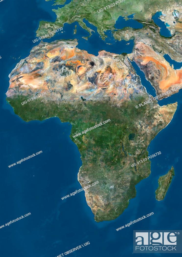 Satellite View Of Africa This Image Was Compiled From Data Acquired