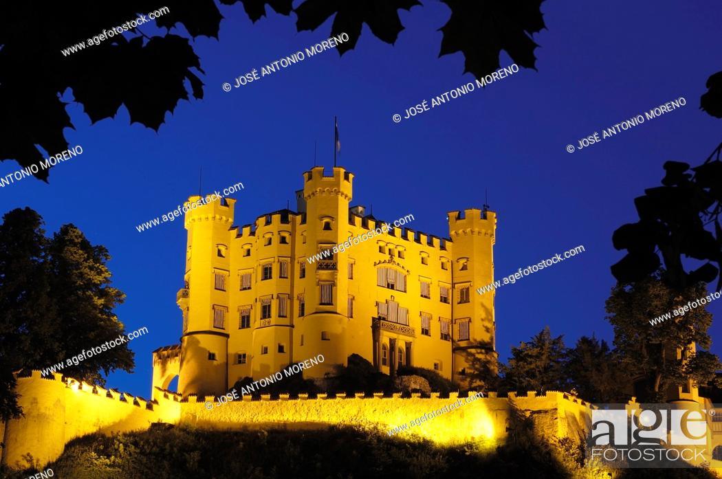 Stock Photo: Hohenschwangau Castle, Romantic Road, Romantische Strasse, Allgau, Fussen, Bavaria, Germany, Europe.