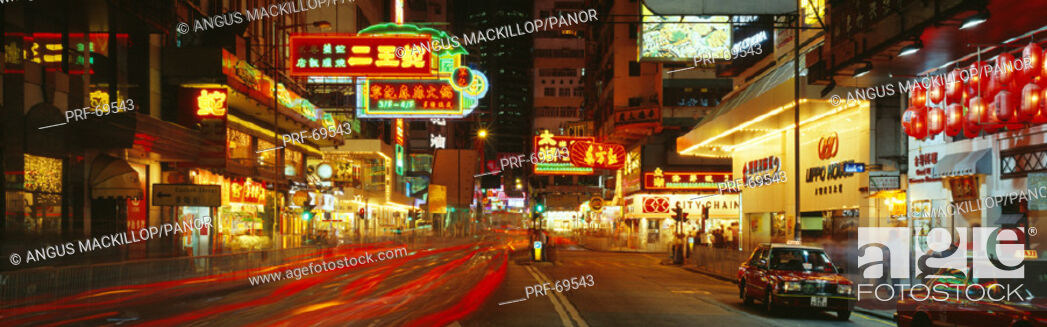 Stock Photo: Night Percival Street Causeway Bay Hong Kong.