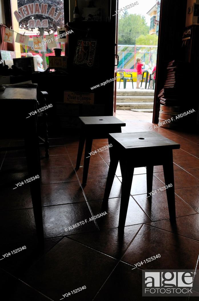 Stock Photo: Bar La Naveta, Nava, Asturias, Spain.
