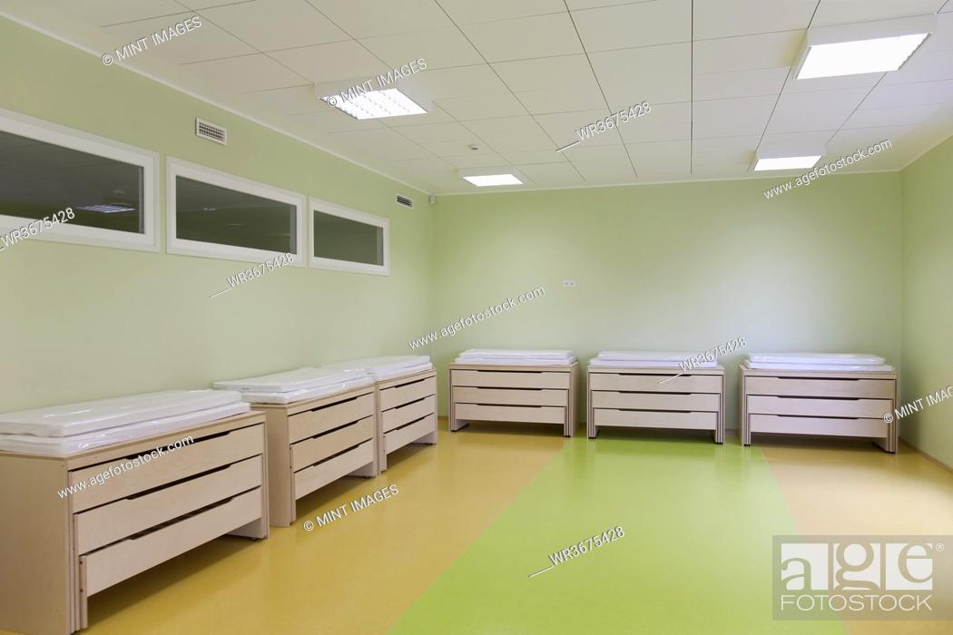 Stock Photo: Storage furniture in a new school room.