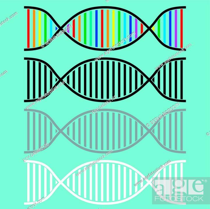 Stock Vector: DNA or desoxyribonucleic acid icon set.