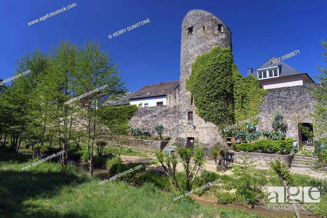 Stock Photo: Europe, Luxembourg, Echternach, Ruins of ancient City Walls from Rue des Benedictins.