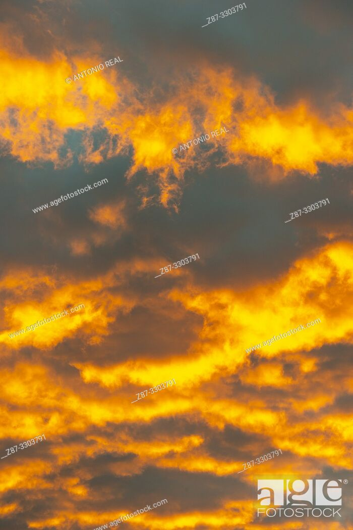 Stock Photo: Clouds at sunrise. Almansa. Albacete province, Castile-La Mancha, Spain.
