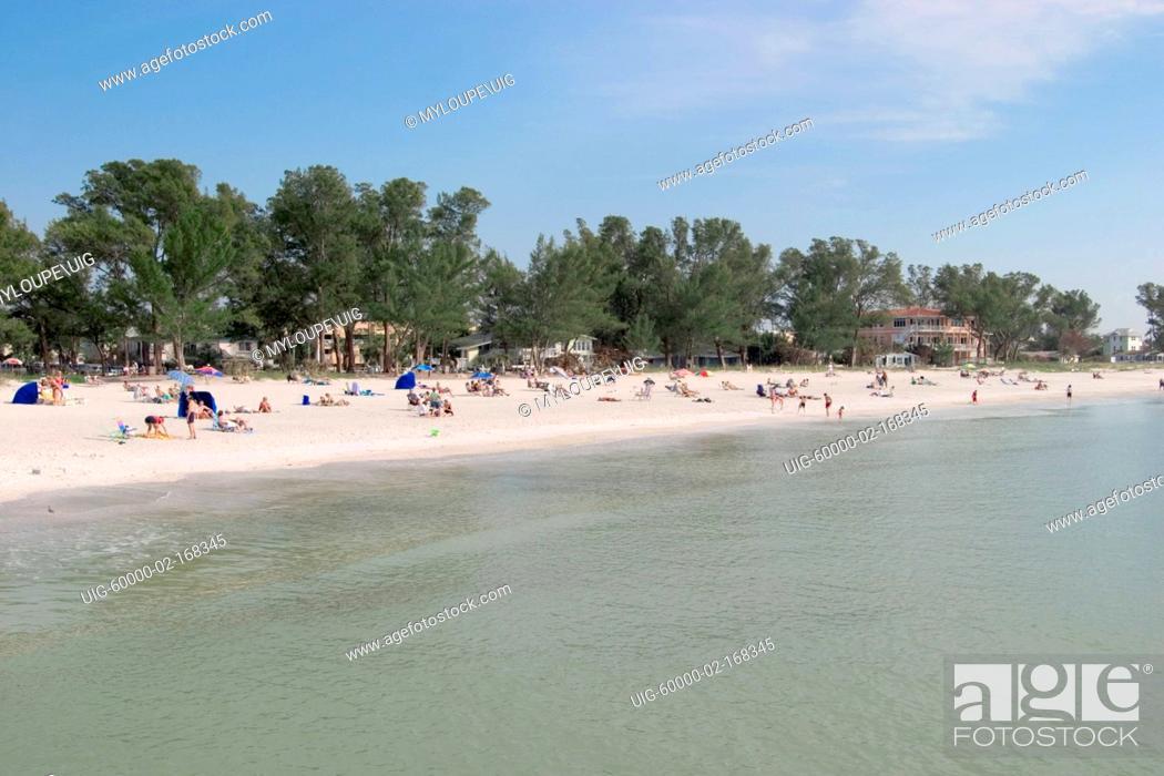 Stock Photo Manatee County Public Beach Anna Maria Island Town Of Holmes