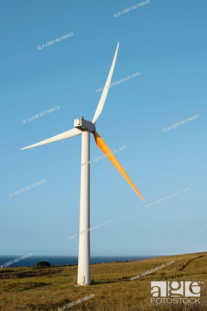 Stock Photo: Wind turbine in a field, Pakini Nui Wind Project, South Point, Big Island, Hawaii, USA.