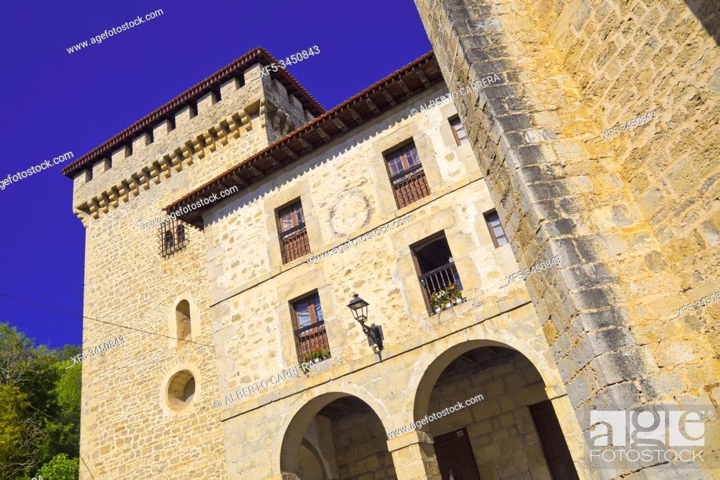 Stock Photo: Quejana Complex of Historical Monuments, Palace of Pedro López de Ayala, 14th Century Civil Heritage, Listed Cultural Asset, Artziniega, Ayala, Álava.