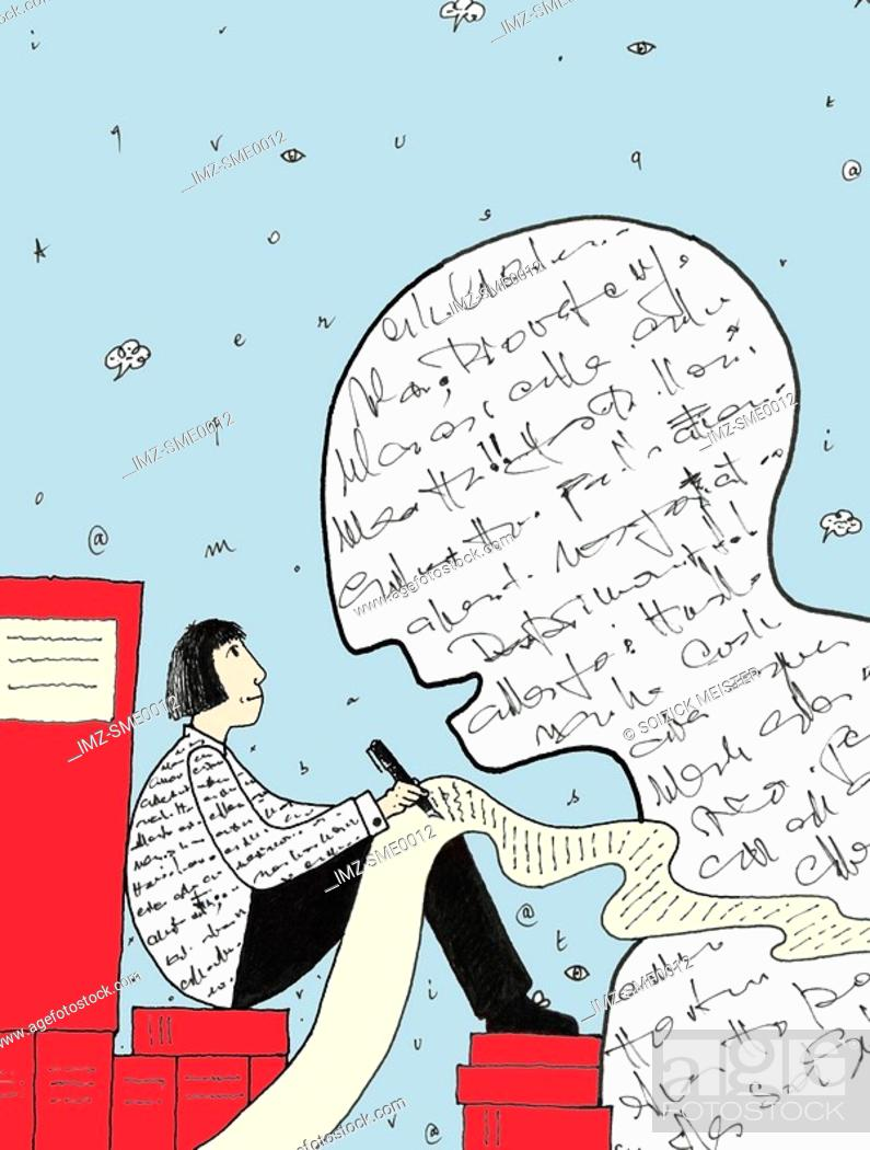 Stock Photo: a person writing beside a large head made of words,ghostwriter.