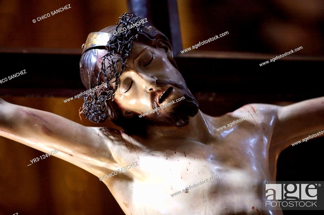 Stock Photo: The Christ of Health Cristo de la Salud in Mexico City's Metropolitan Cathedral. In times of epidemic, Mexico City's Cathedral calls on the Christ of Health to.