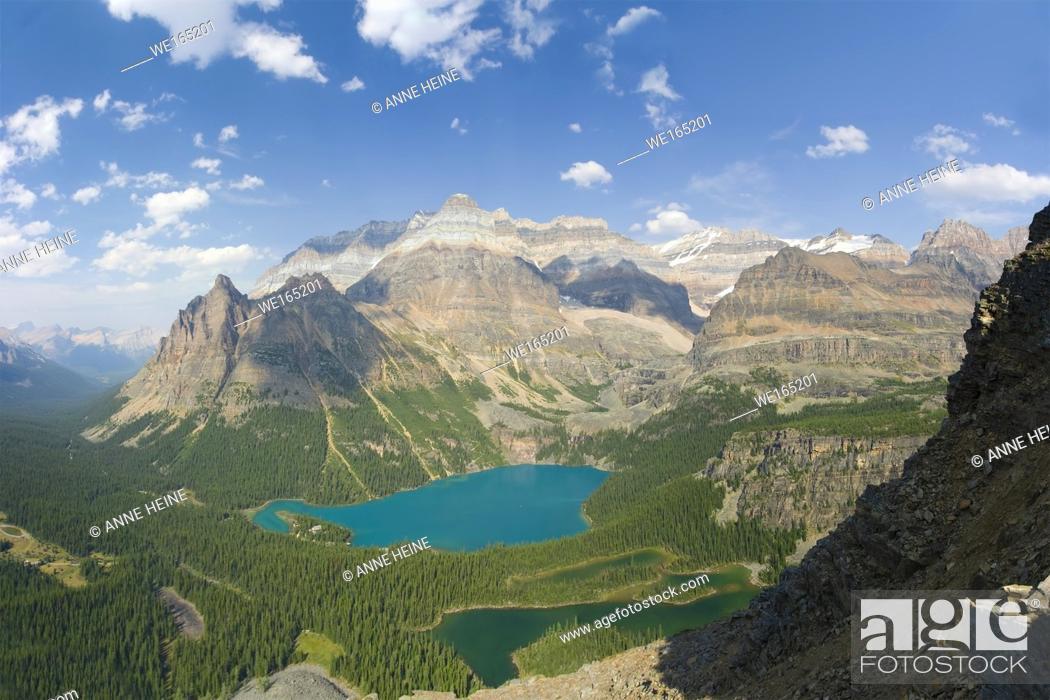 Stock Photo: Scenic Lake O`Hara seen from above. British Columbia, Canada.
