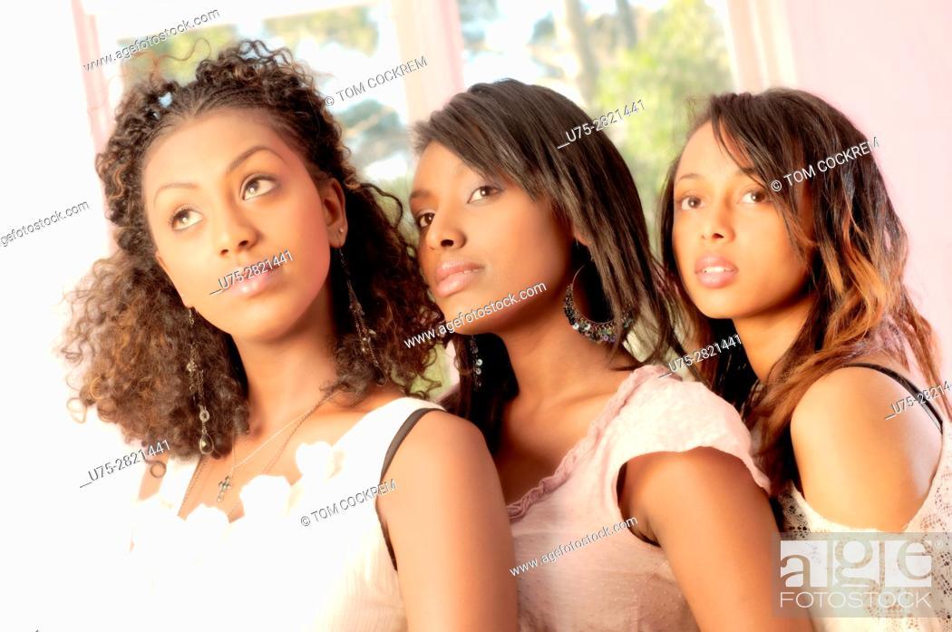 Stock Photo: Young Ethiopian women in indoors setting.