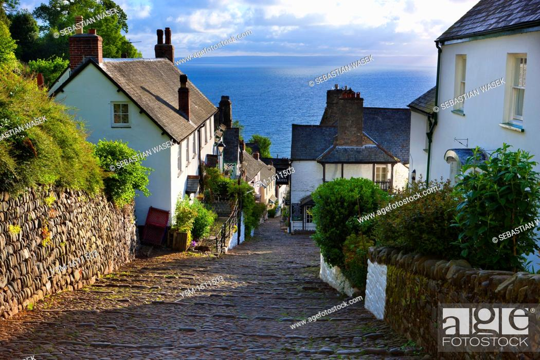 Stock Photo: The narrow cobbled streets of Clovelly, North Devon, England, UK, Europe.