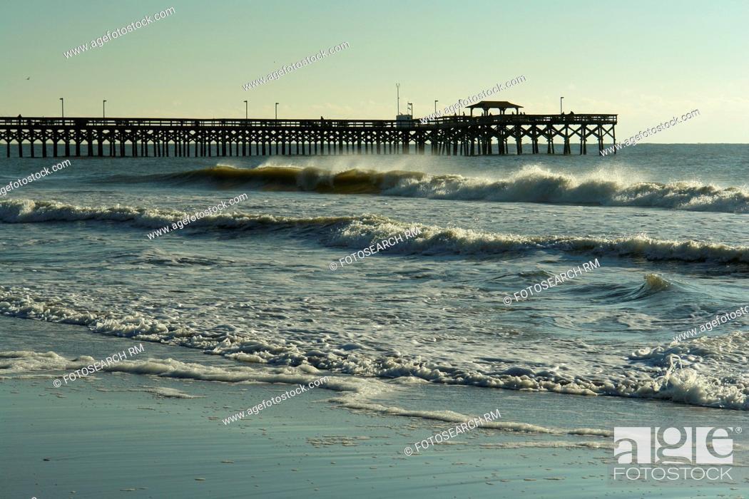 Stock Photo: Myrtle Beach, SC, South Carolina, The Grand Strand, fishing pier, beach.