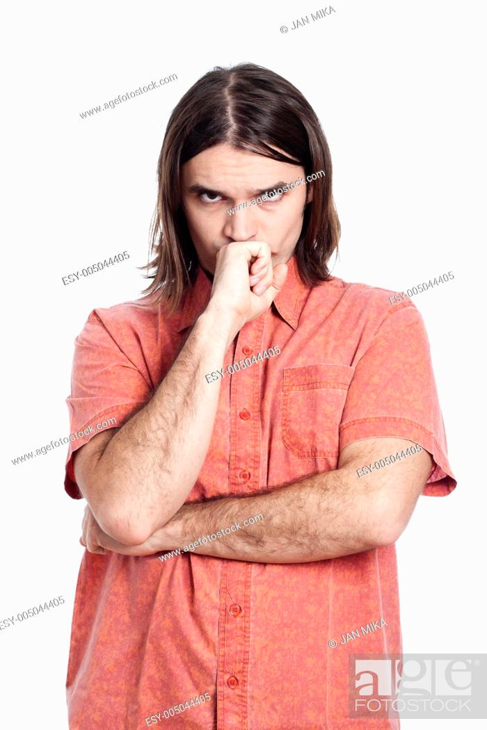 Stock Photo: Young longhaired pensive man thinking, isolated on white background.