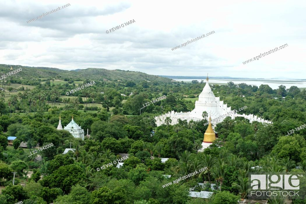 Stock Photo: Overview from the Mingun Temple  Along the Irrawady river  Mingun  Sagaing Division  Burma  Republic of the Union of Myanmar.