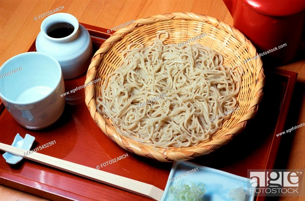 Stock Photo: Bowl Of Noodles On Tray.