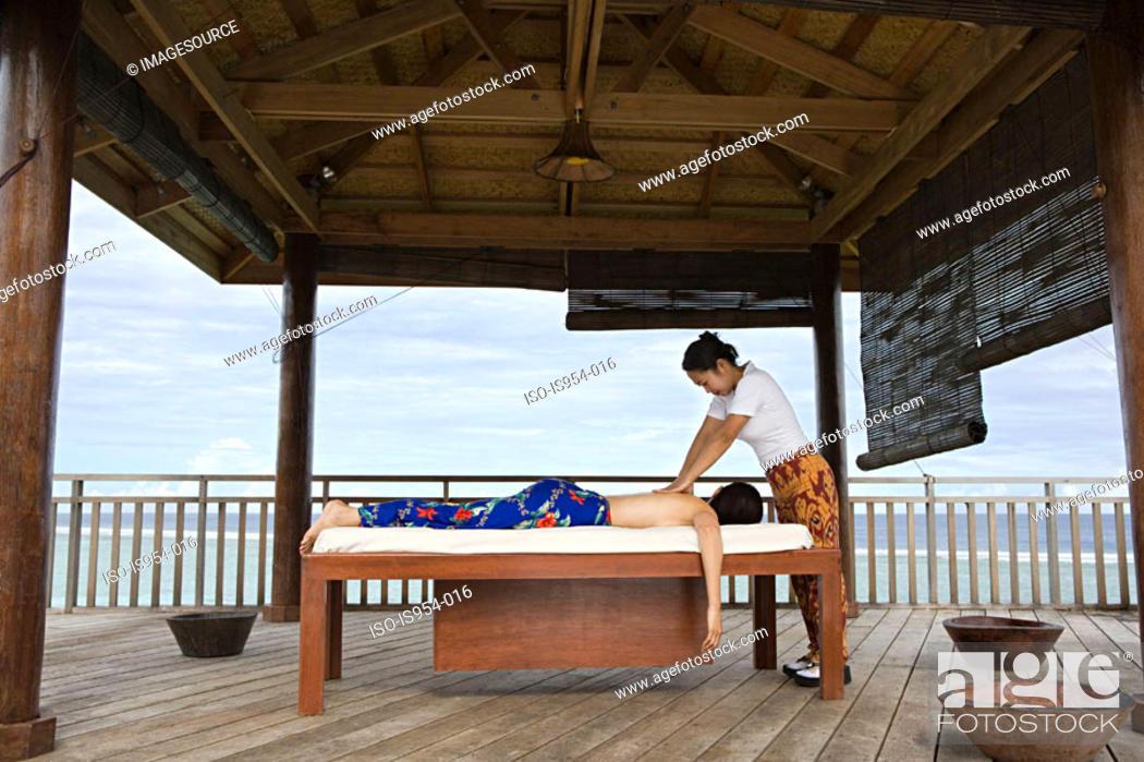 Stock Photo: Woman having massage.