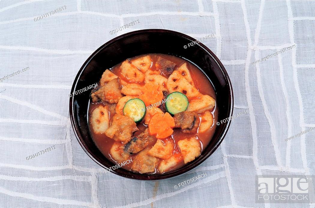 Stock Photo: korean cuisine, lotusroot, korean food, cuisine, food, korean.