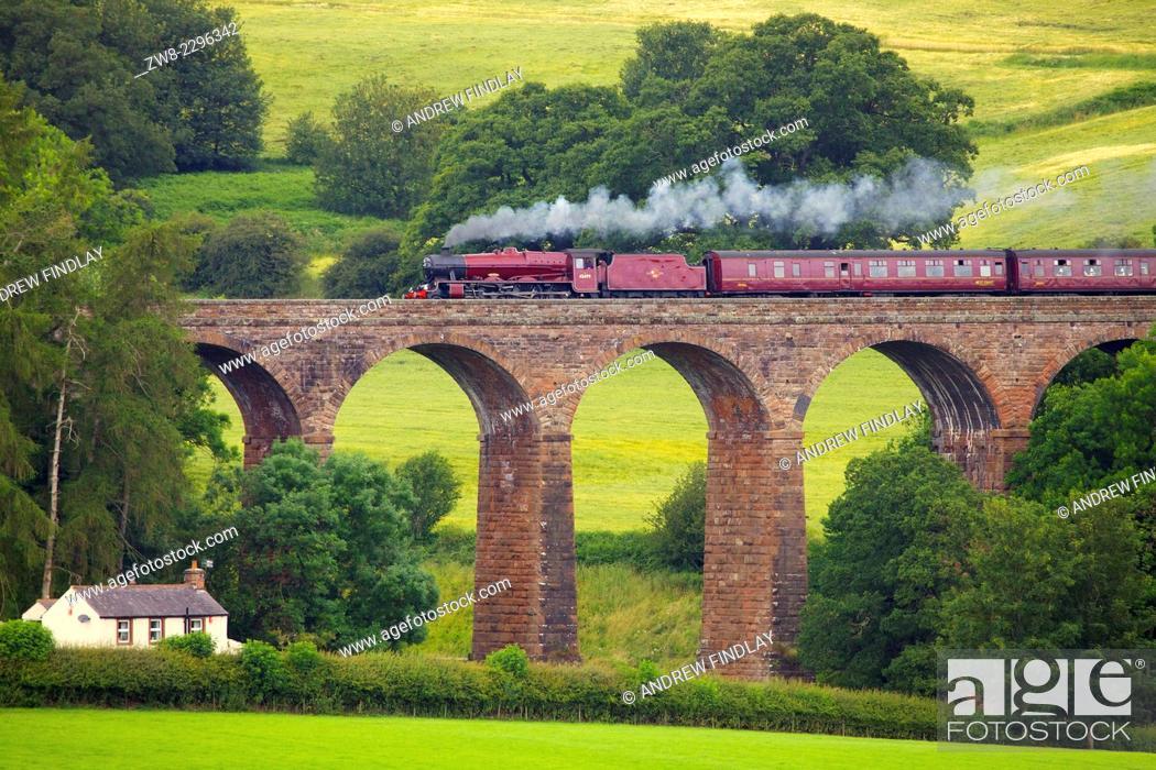 Stock Photo: LMS Jubilee Class 45699 Galatea 'Fellsman', steam train on the Settle to Carlisle Railway Line on Dry Beck Viaduct near Armathwaite Settle to Carlisle Railway.