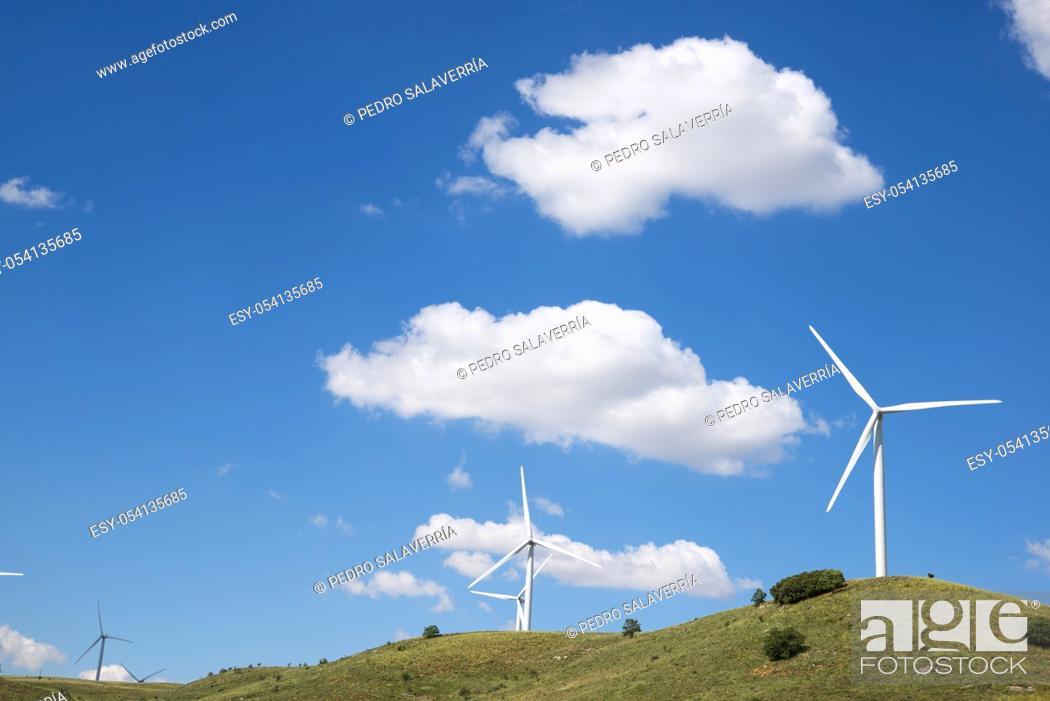 Photo de stock: Windmills for electric power production, Soria Province, Castilla Leon, Spain.
