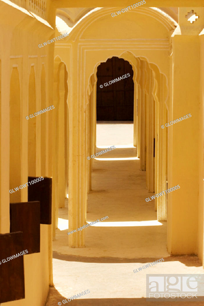 Stock Photo: Arched corridors in a palace, City Palace Complex, City Palace, Jaipur, Rajasthan, India.