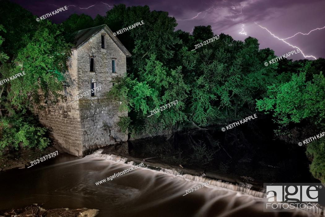 Stock Photo: Light Painting and Night photography of Cedar Point Mill ruins in Kansas.