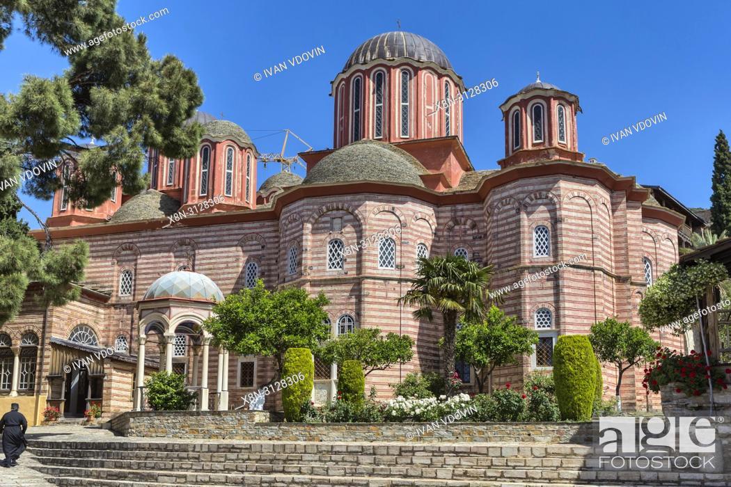 Stock Photo: New Katholikon church, Xenophontos monastery, Mount Athos, Athos peninsula, Greece.