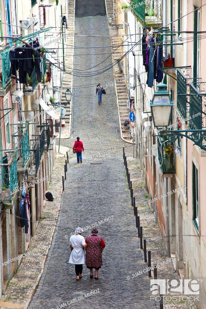 Stock Photo: Travessa do Sequeiro, Lisbon, Portugal, Europe.