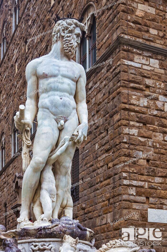 Stock Photo: The Fountain of Neptune Sculpture (Fontana del Nettuno) designed by Baccio Bandinelli, Piazza della Signoria, Centro Storico, Firenze, Tuscany, Italy.
