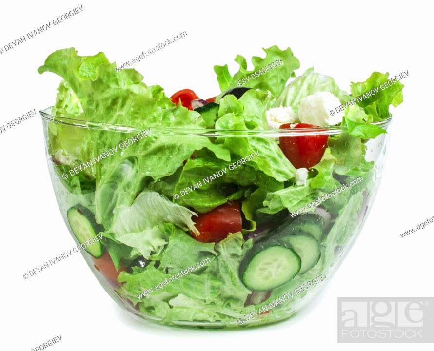 Stock Photo: Mixed salad in a glass bowl on a white background.