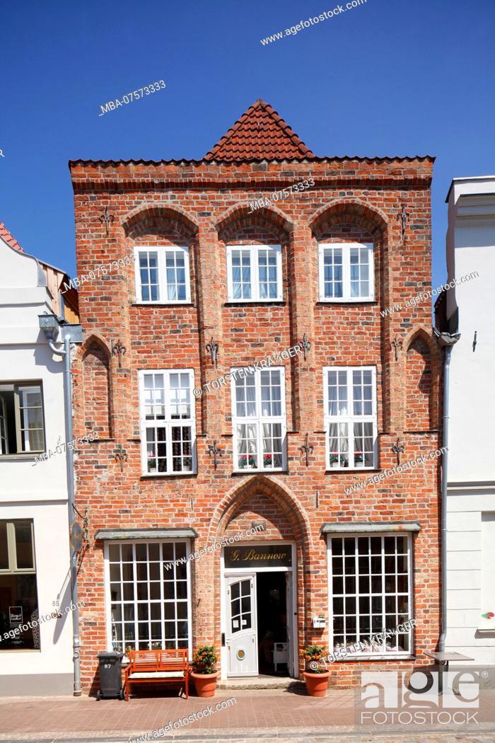 Stock Photo: Historic house facade, Lübeck, Schleswig-Holstein, Germany, Europe.