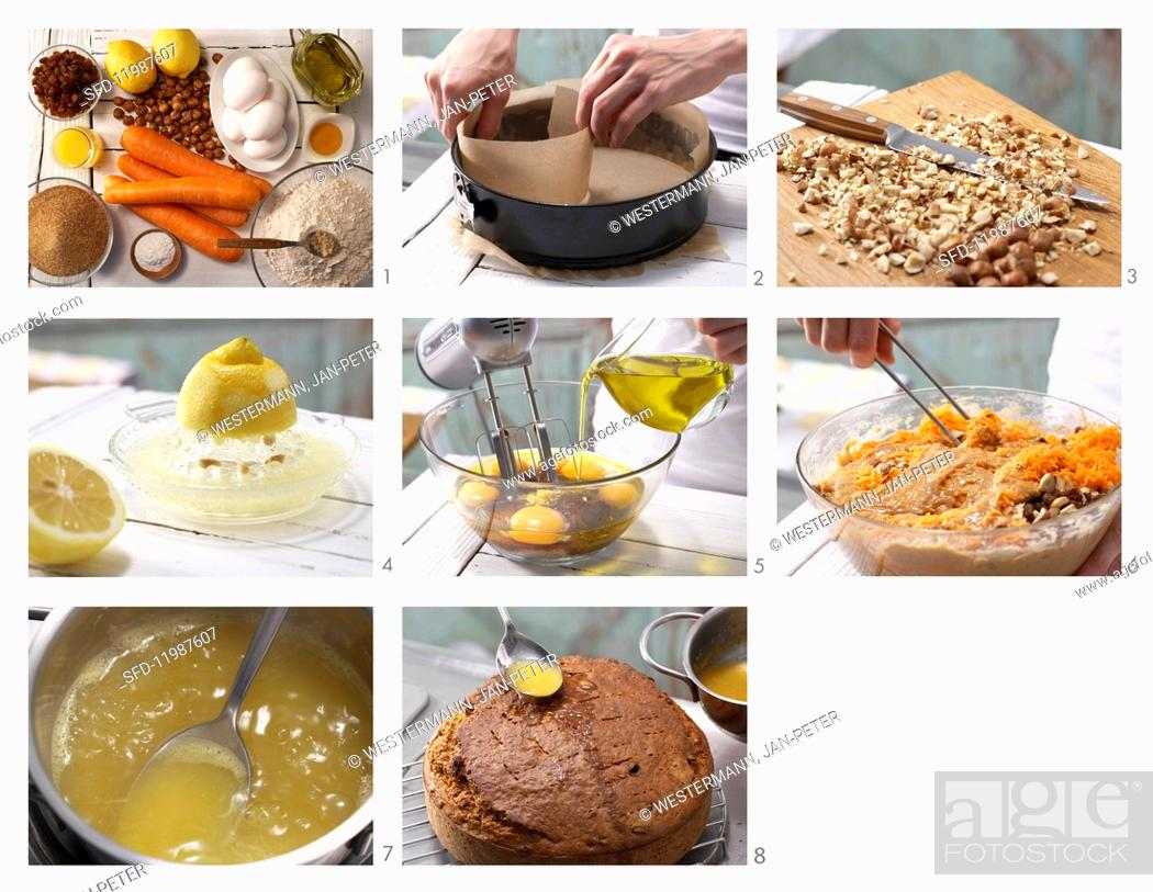 Stock Photo: How to prepare carrot & nut cake.