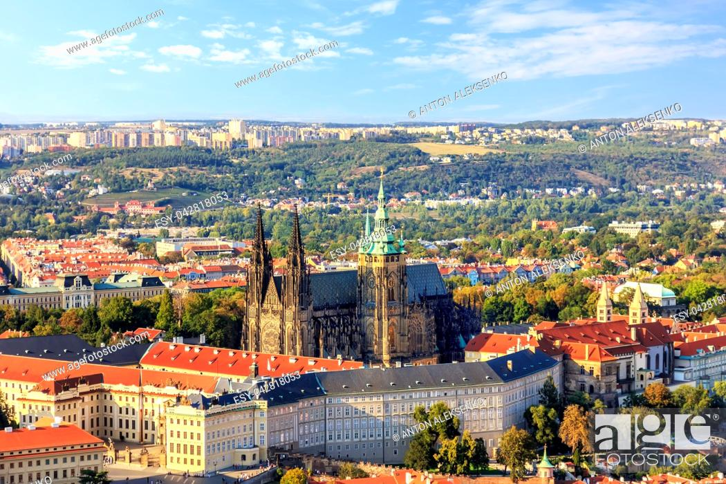 Stock Photo: Prague Castle in a summer day, aerial view.