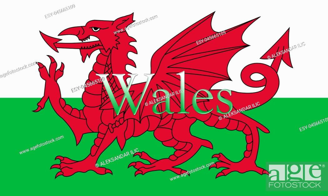 Stock Photo: Wales National Flag With Country Name On It 3D illustration.