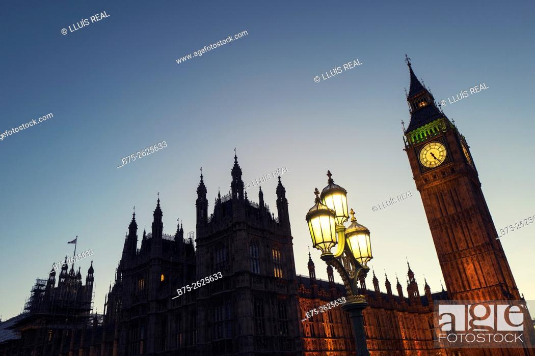 Stock Photo: House of Parliament and Big Ben in the evening. City of Westminster, London, England, United Kingdom , Europe.
