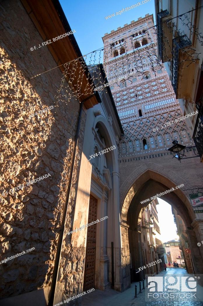 Stock Photo: San Salvador mudejar tower, Teruel, Aragon, Spain.