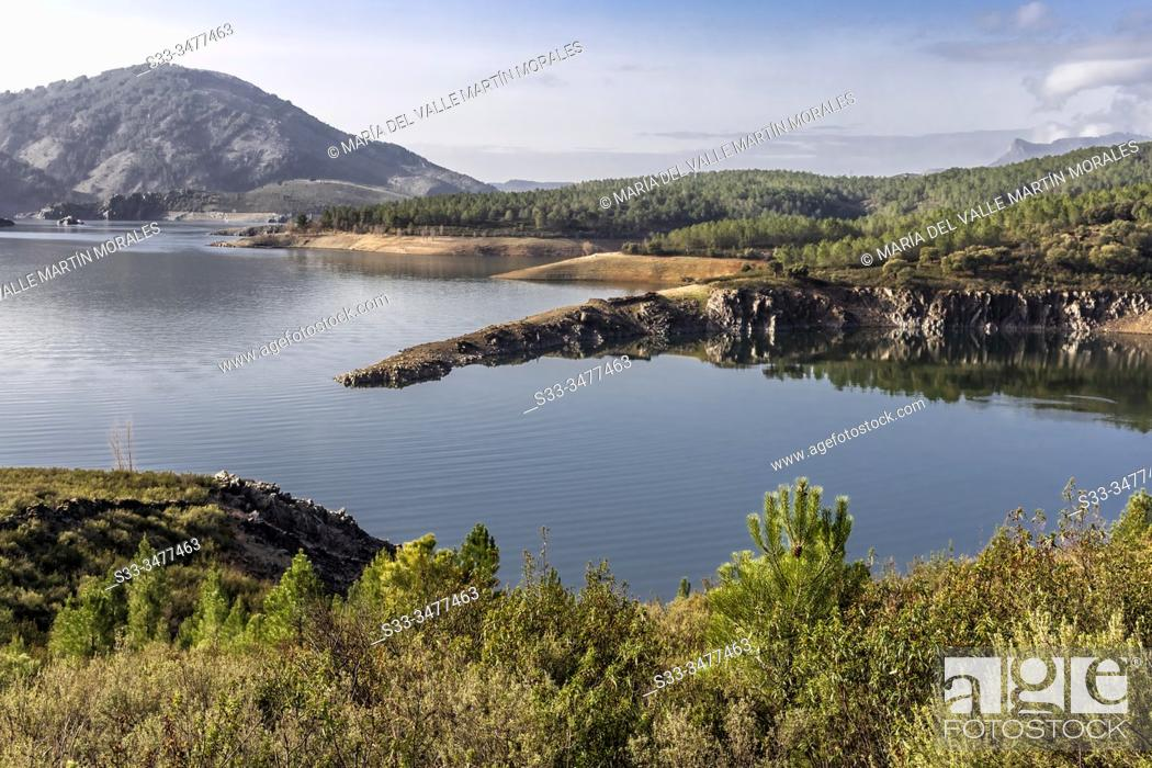 Stock Photo: Calm at Atazar reservoir. Madrid. Spain. Europe.