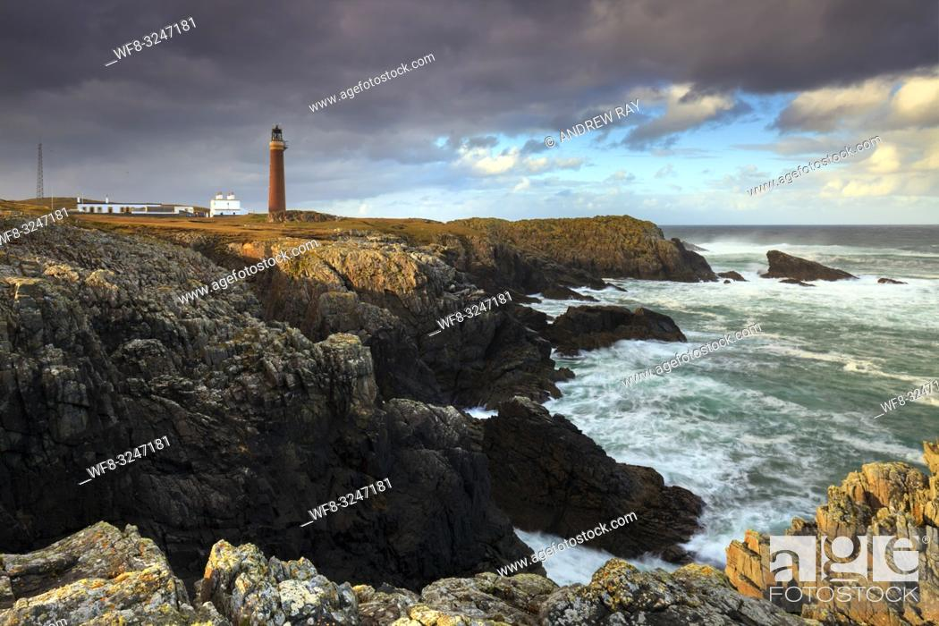 Stock Photo: The lighthouse on the most northerly point of the Isle of Lewis in the Outer Hebrides, captured on an afternoon in late October.
