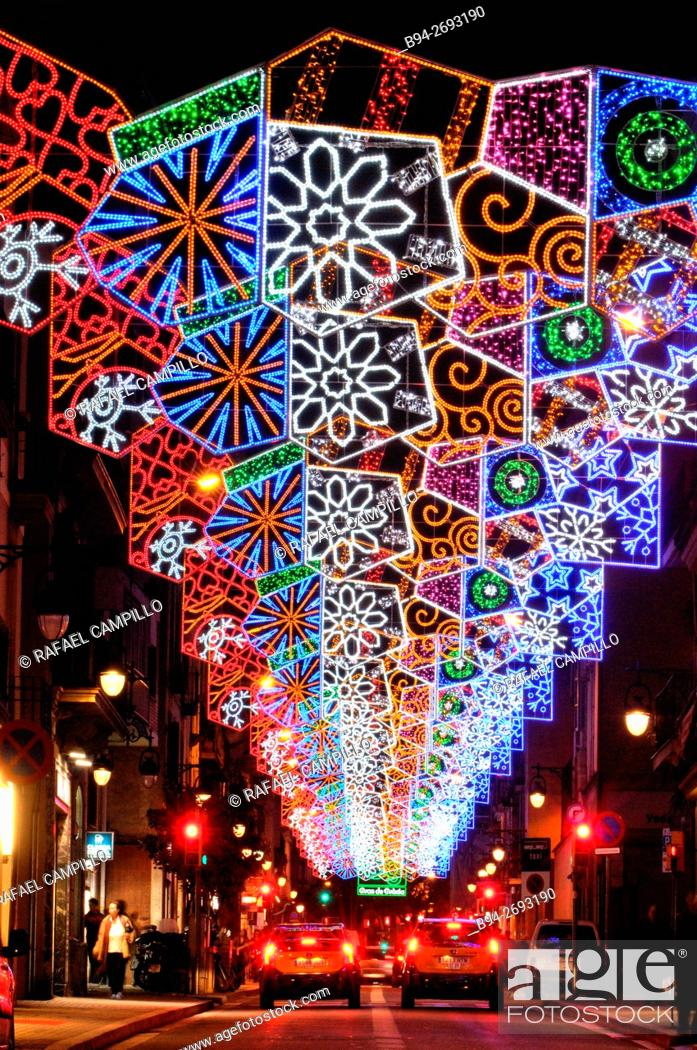 Stock Photo: Christmas lights. Barcelona. Catalonia. Spain.