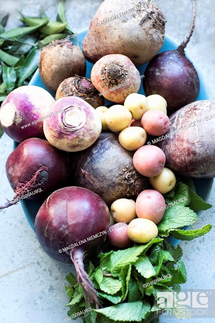 Stock Photo: Overhead view of selection of Autumn vegetables.