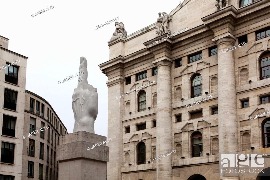 992b5eaa96 Stock Photo - Sculpture by Maurizio Cattelan, Piazza Affari, Affari square,  Milan