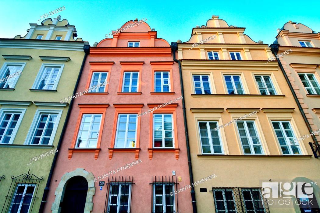 Stock Photo: facades of townhouses, Kanonia Street, Kanonia square, Old Town - UNESCO World Heritage Site, Warsaw , Poland, Europe.
