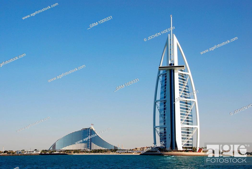 Stock Photo: Burj Al Arab and Jumeirah Beach Hotel in Dubai, UAE.