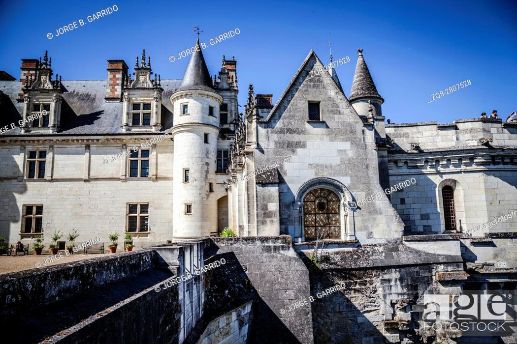 Stock Photo: View of the Castle of Amboise over the town in the Loire valley.