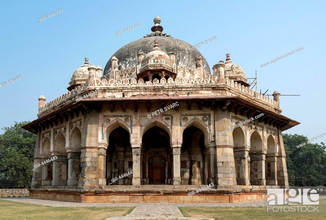 Stock Photo: Isa Khan's Garden Tomb, Humayun's Tomb, New Delhi, India.