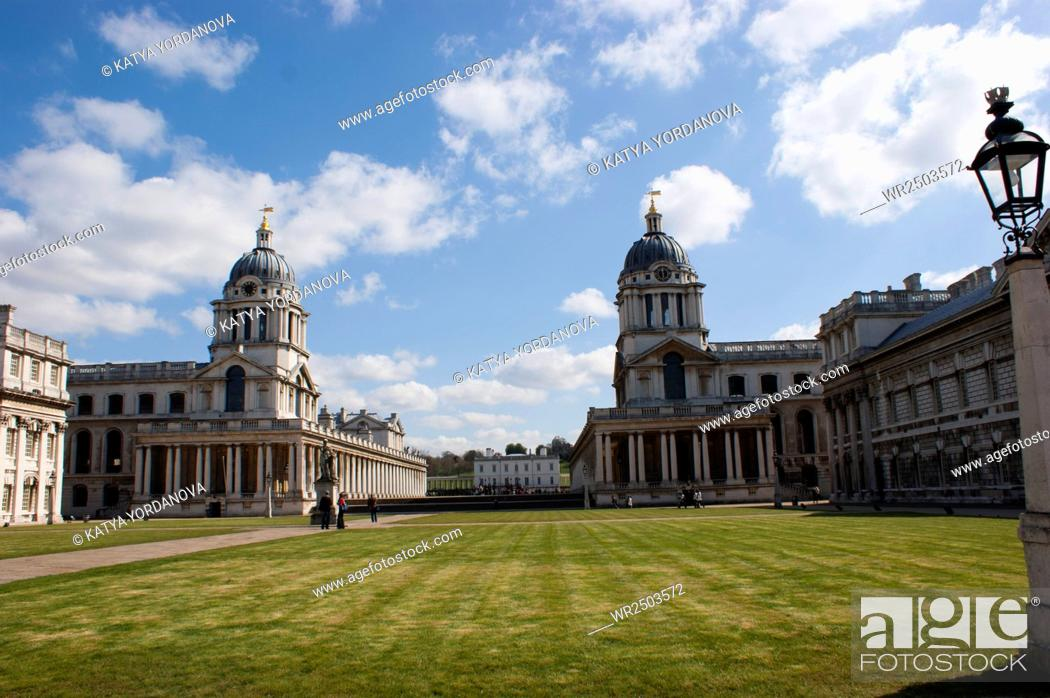 Stock Photo: Old Naval College in Greenwich, UK with park and Greenwich Observatory in the background.