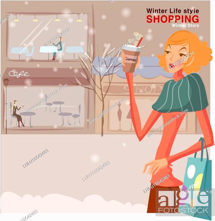 Stock Photo: winter, lifestyle, seasons, street, shopping, outdoors, woman.