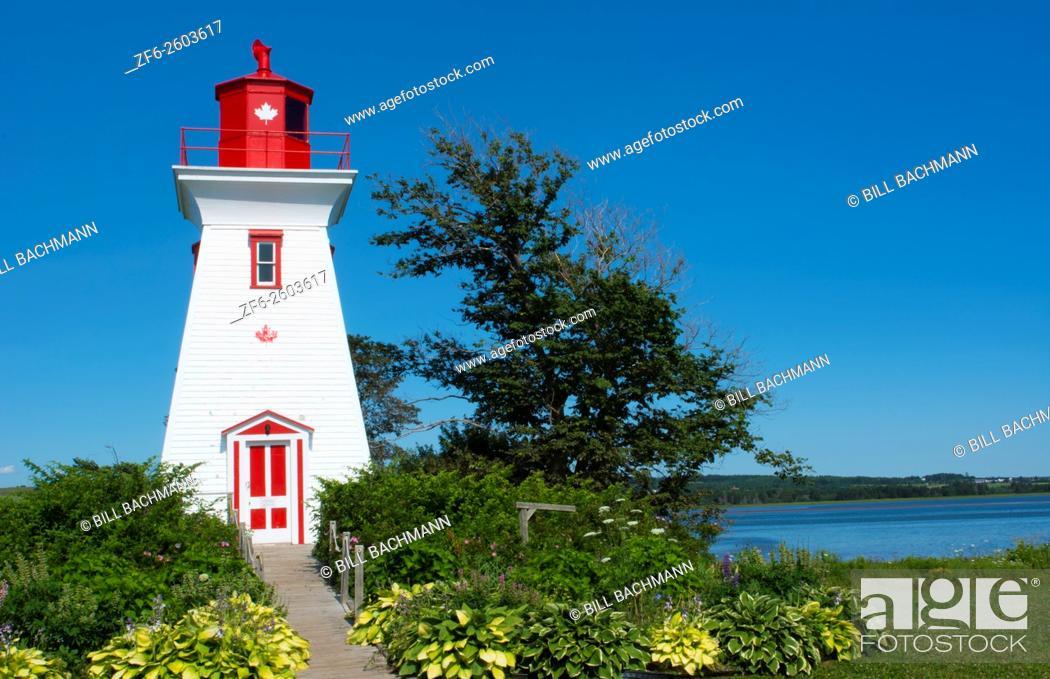 Stock Photo: Canada Prince Edward Island, P. E. I. Victoria beautiful old Lighthouse called Victoria Seaport Lighthouse or Souris East Lighthouse 1879 Souris East Lighthouse.