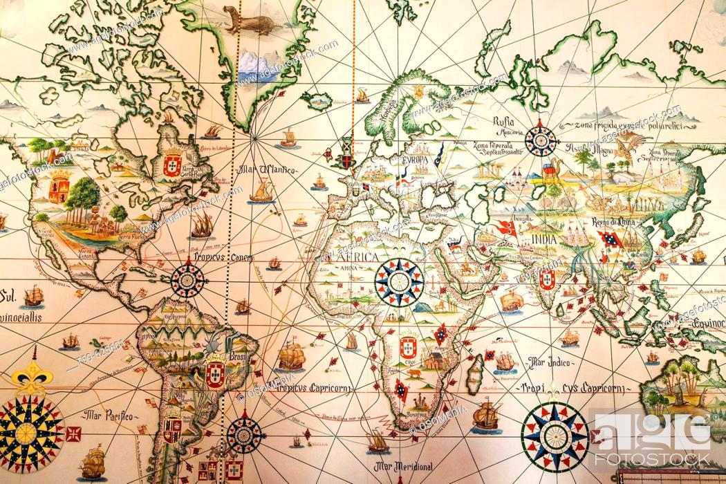 World map Maritime Museum Belem Lisbon Portugal Stock Photo