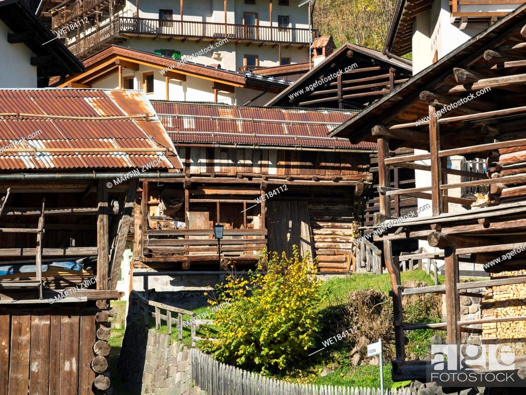 Stock Photo: Traditional barns called Tabia, alpine architecture in Falcade in Val Biois. Europe, Central Europe, Italy.